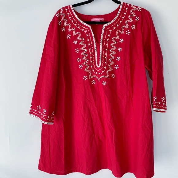 Woman Within Red Tunic with Embroidery Size 1X
